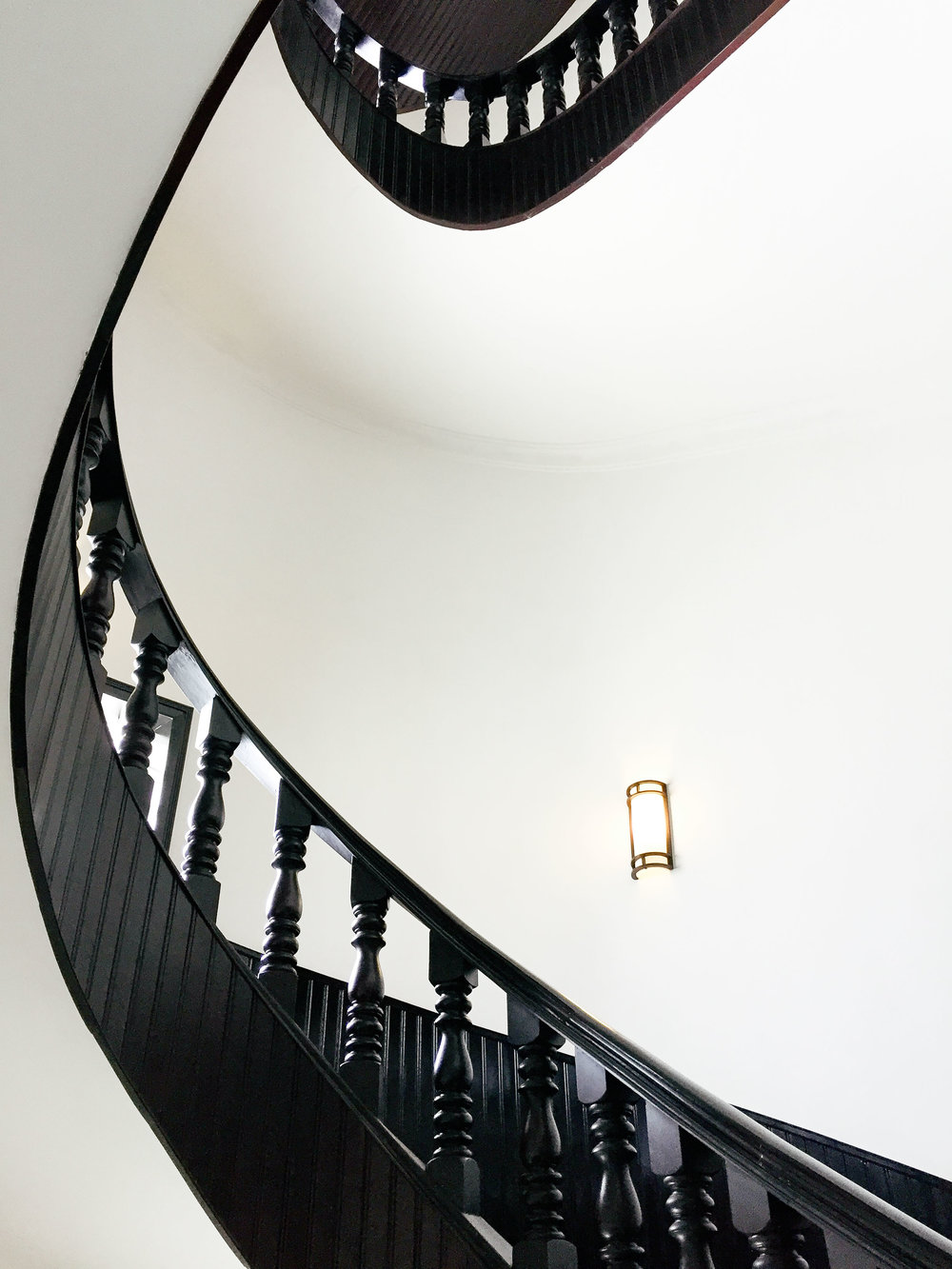 Spiral staircase with clean aesthetics