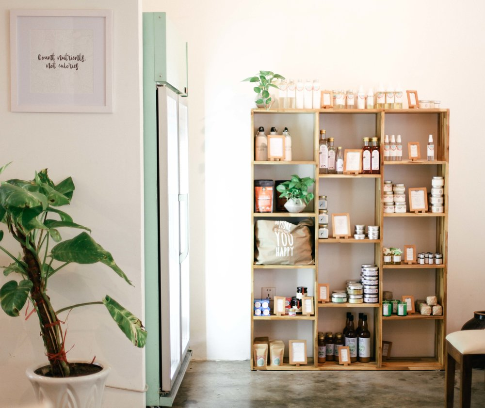 They also sell organic, coconut-based products for body, a shelf that a hipster cafe won't go without.