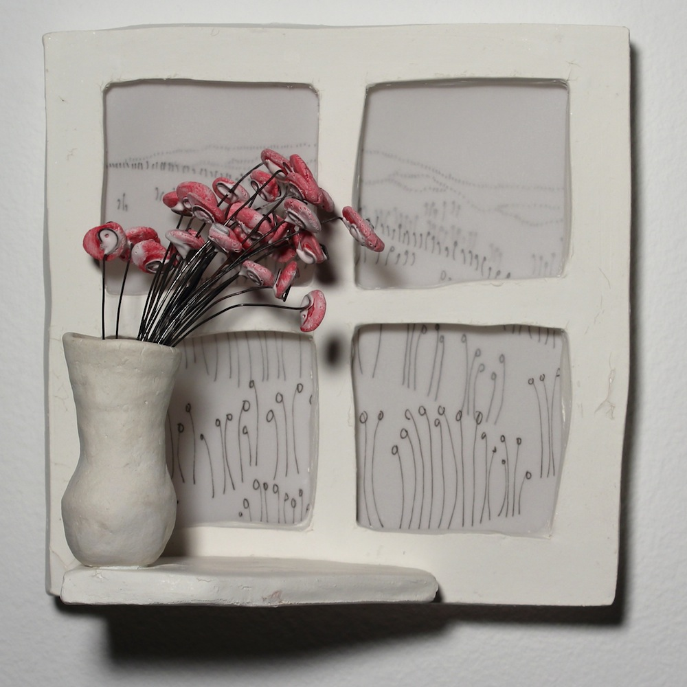 "Remember when                                                                                                                          Jenny Dowd    2016, 6"" x 6"" Porcelain, velum, ink, wire"