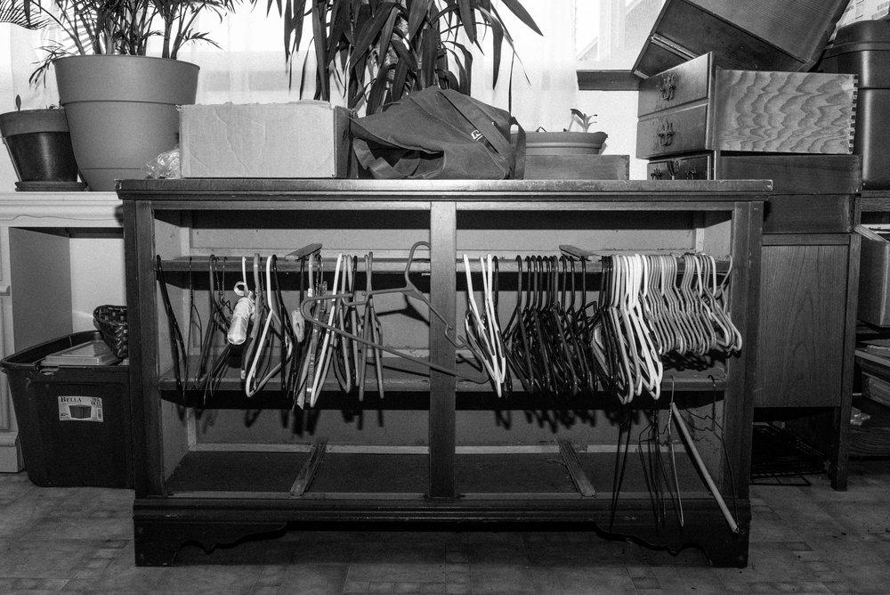 Hangers awaiting a new owner. September 2017.