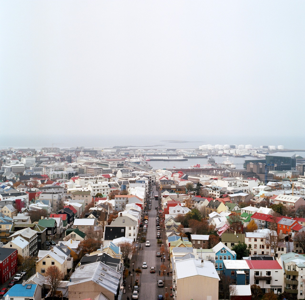 Reykjavík from the Hallgrímskirkja tower.   Kodak Portra 400//Hasselblad 500CM