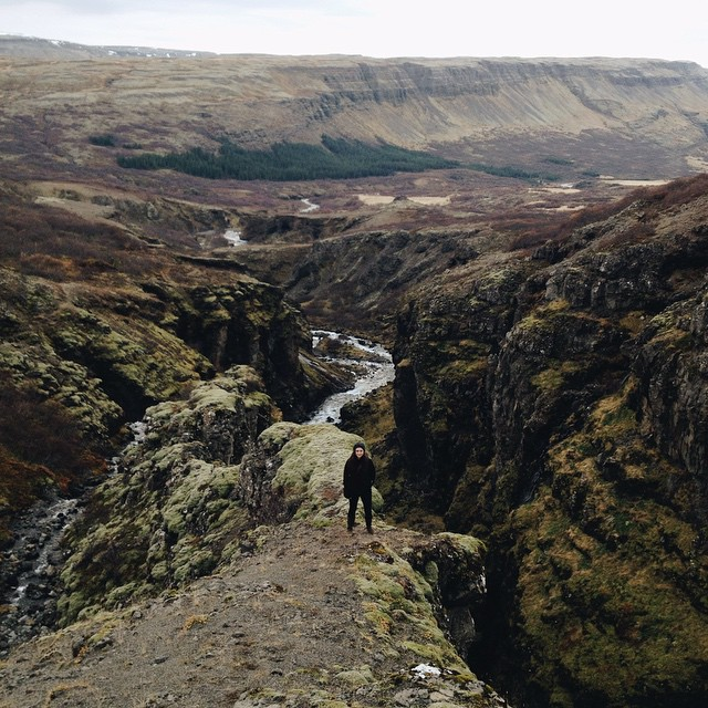Hiking to Glymur, the tallest waterfall in Iceland.