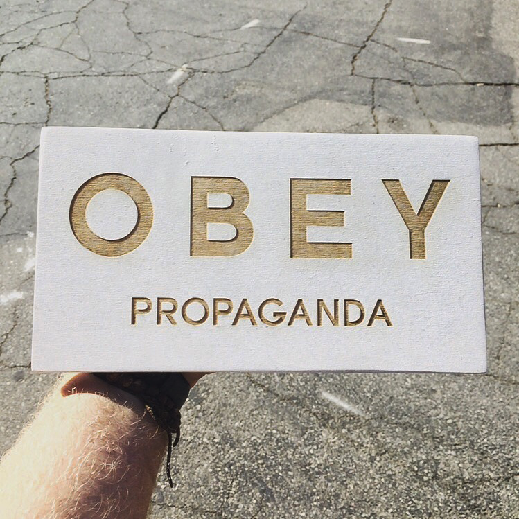"3/4"" Painted White Signs For Obey Clothing"