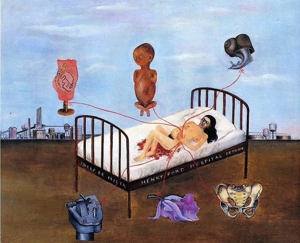 Henry Ford Hospital, 1932.  Oil on Metal  by Frida Kahlo