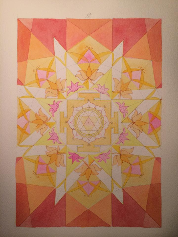 Durga Yantra & Vedic Square (work in progress) watercolor on paper,  by Chanti