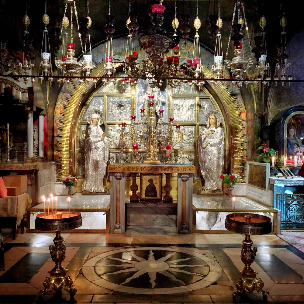 The Altar of the Crucifixion over Golgotha. There's a hole in the altar where you can reach down to touch the rock.