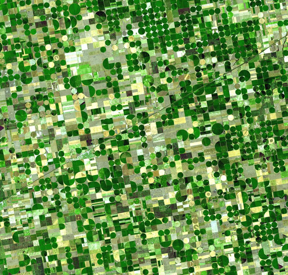 ARIAL VIEW OF VARIOUS CROPS BEING ROTATED