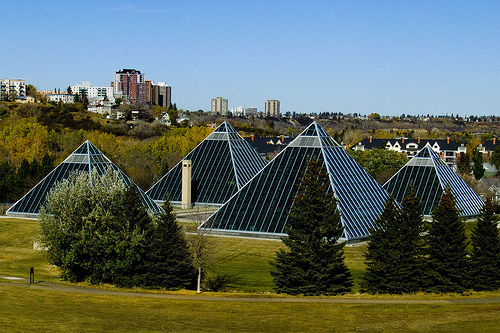 THE GREAT PYRAMIDS OF EDMONTON - ALSO KNOWN AS THE MUTTART CONSERVATORY, THESE GREENHOUSES FEATURE VARIOUS ECOSYSTEMS