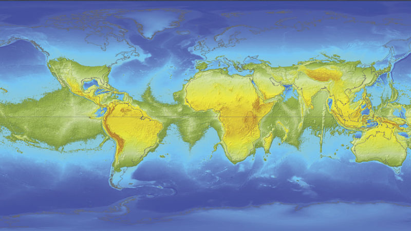 MAP OF THE EARTH IF IT WERE TO STOP SPINNING CAUSING ZERO CENTRIPETAL FORCE - NOTICE THAT THERE WOULD BE NO OCEAN NEAR THE EQUATOR