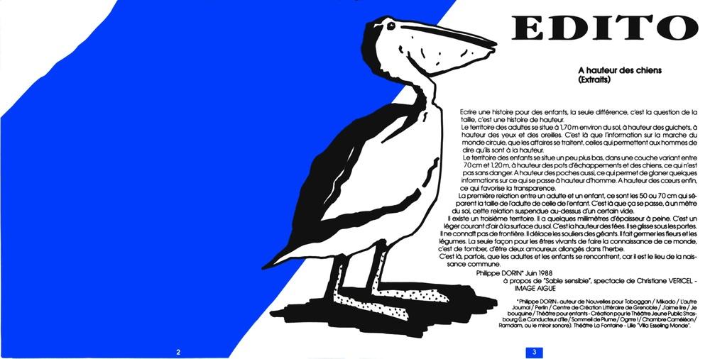 """Édito"" de Philippe DORIN. Strapontin n°23 (1989). Copie couleur. 21x41,4cm. Graphiste : Grafiti Prospective. Archives TJP, Strasbourg."