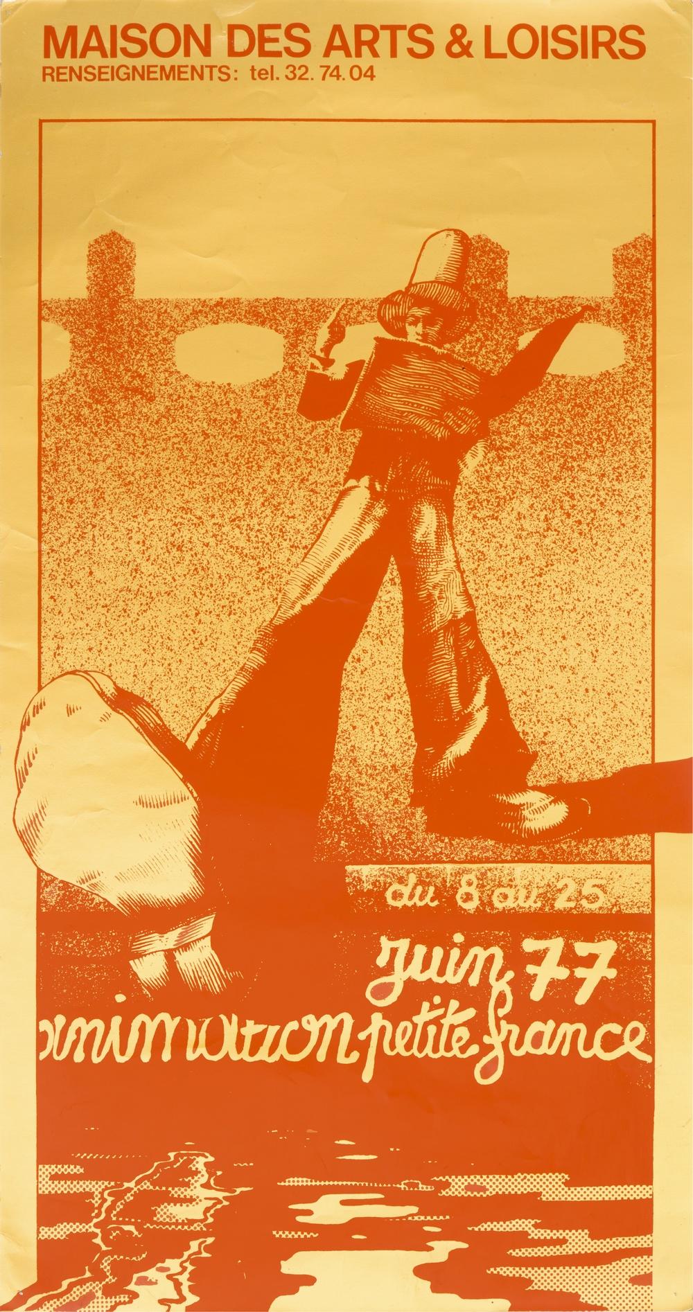 Affiche sérigraphie. Animation Petite France (8 au 25 juin 1977). Droits réservés. 120x63 cm. Archives TJP, Strasbourg.