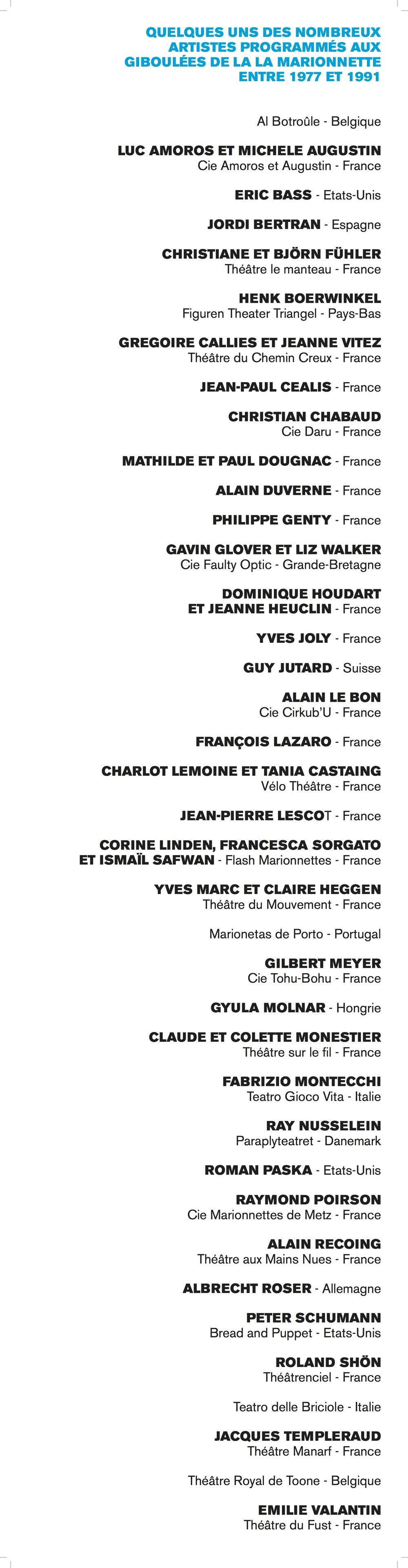 Quelques-uns des nombreux artistes programmés aux Giboulées de la marionnette entre 1977 et 1991.