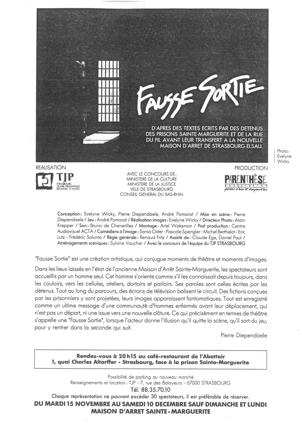 PrésentationduspectacleFaussesortie(1980).D'aprèsdestextesdedétenus.Copienoiretblanc,21x29,7cm.ArchivesduTJP,Strasbourg.