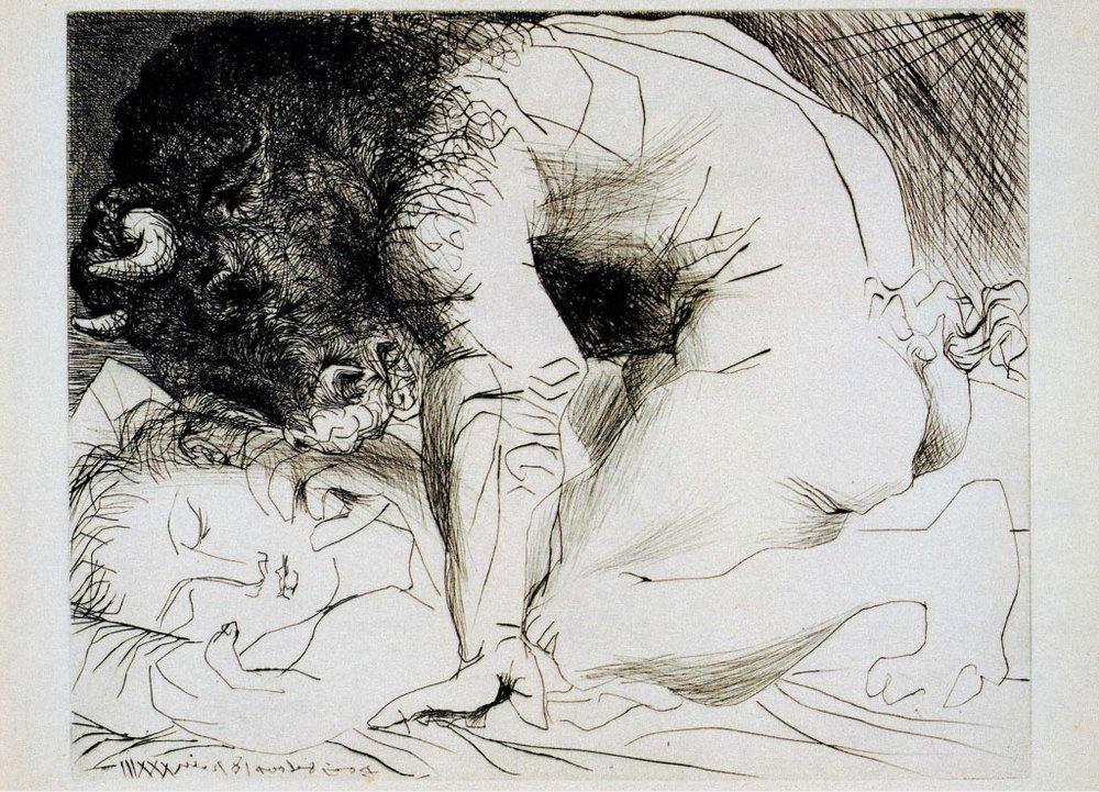 Picasso, Minotaure caressant du mufle la main d'une dormeuse (1933).