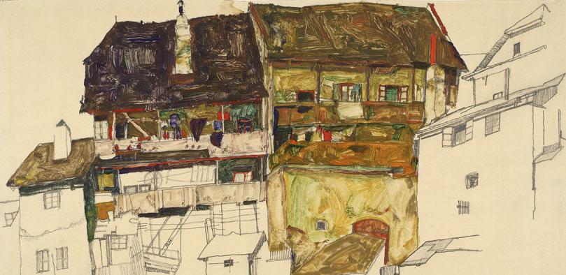 Egon Schiele — Vieilles maisons de Krumau (1914)
