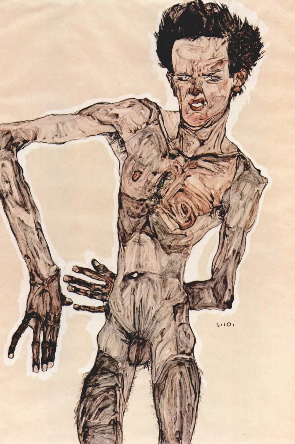 Egon Schiele — Autoportrait, 1910.