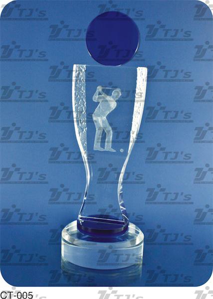 Crystal Golf Trophy - Laser
