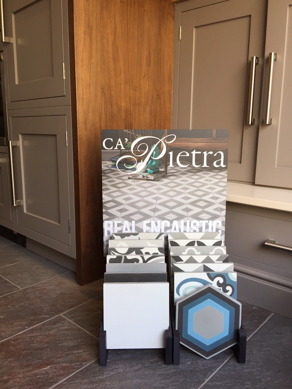 Full set of CaPietra Real Encaustic floor tiles now in our showroom