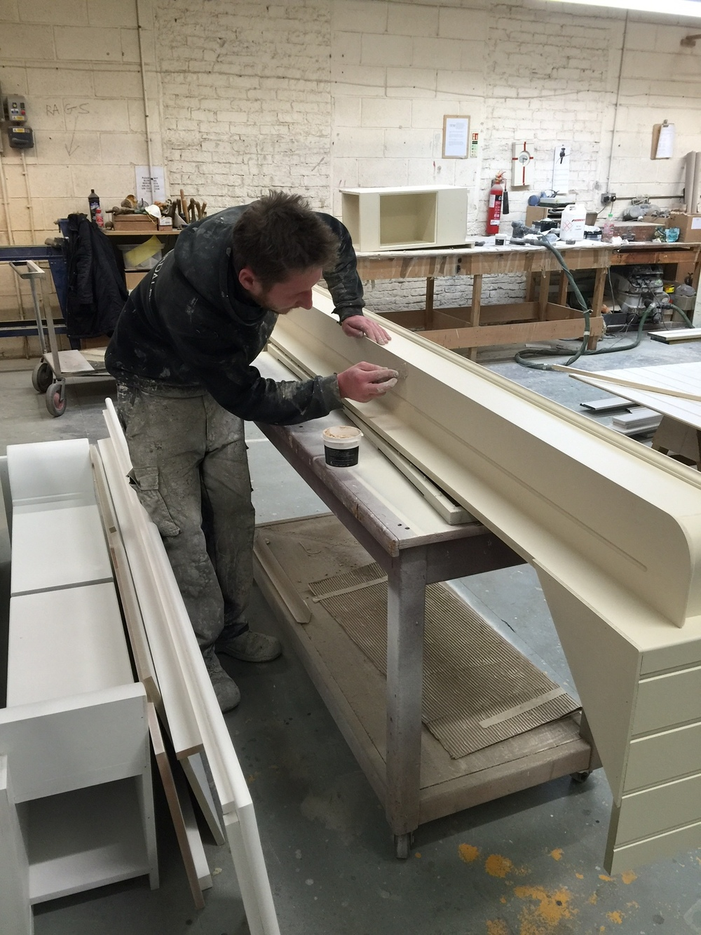 And here is Danny casting an eagle eye over it,  to make sure the finish is perfect  before it goes to our client as part of a beautiful new kitchen.