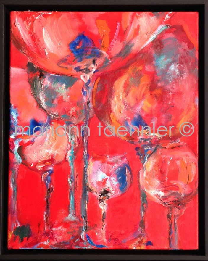 dancing glasses - oil on canvas 40x50x5 cm auf WAF in Palmieri