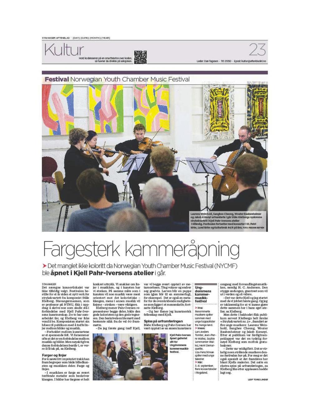 Aftenblad, September 4th 2012