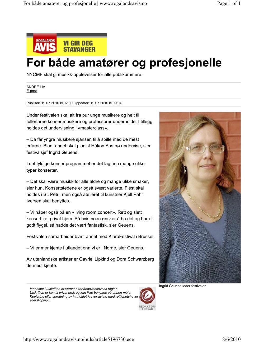 Rogaland AVIS - 6. August 2010