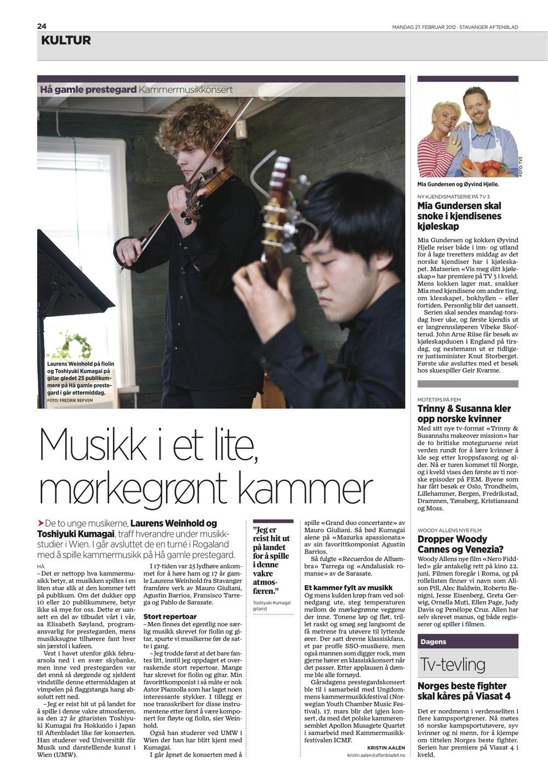Stavanger Aftenblad, Februar 27th 2012
