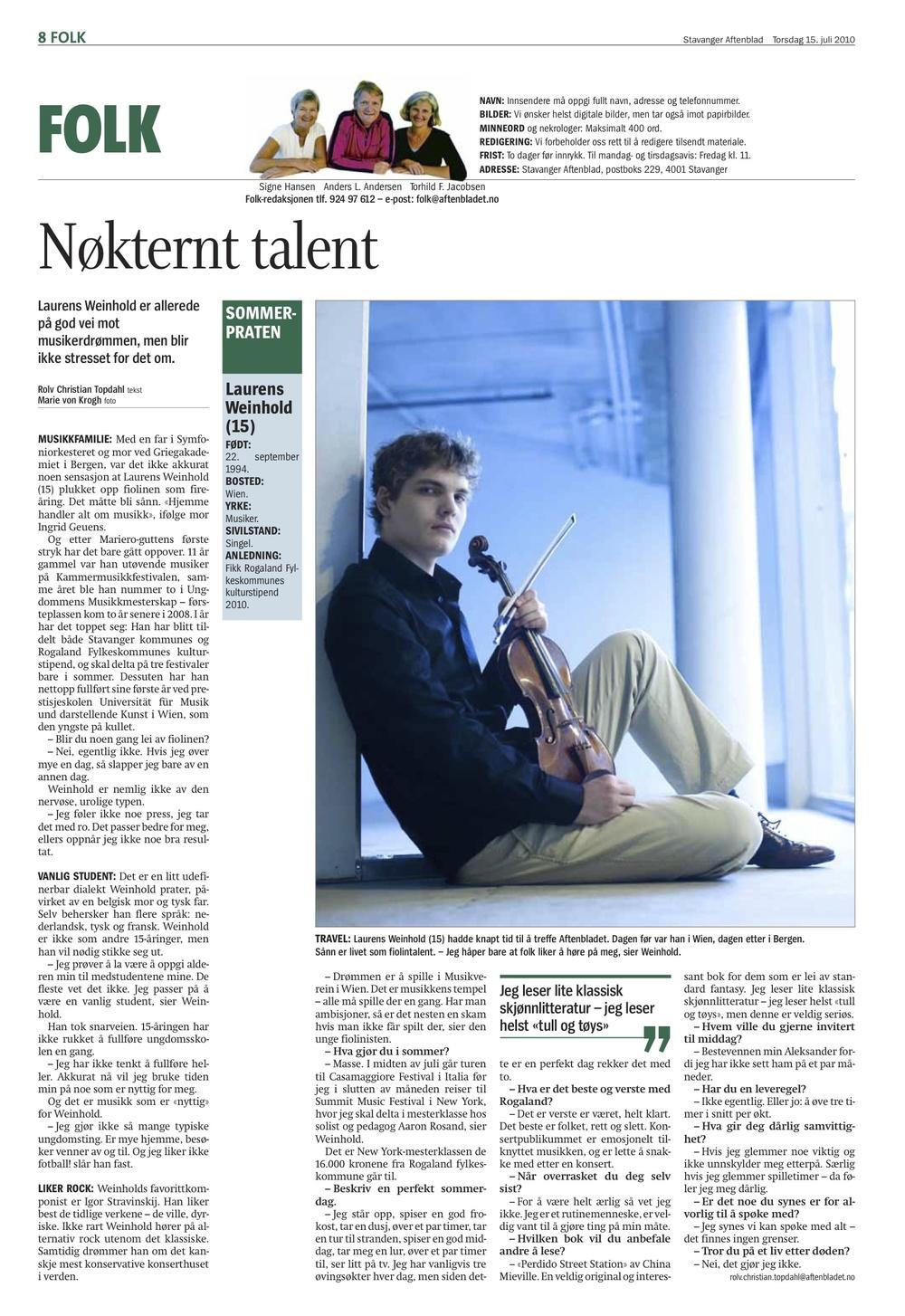 Stavanger Aftenblad - 15. July 2010