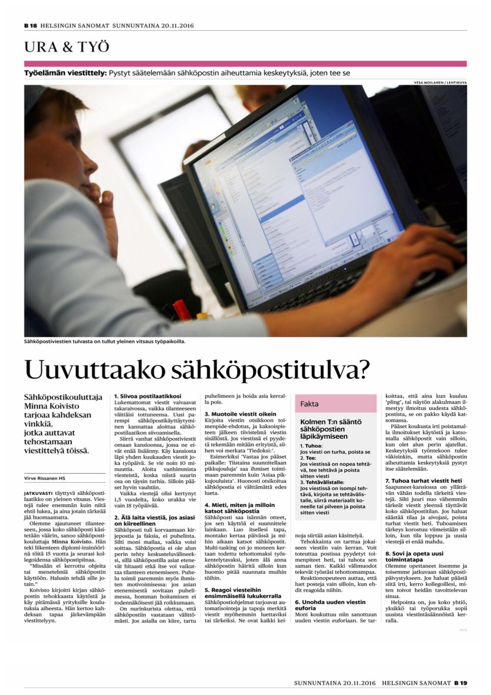 20161120 Helsingin Sanomat, Ura & Työ -osio.png