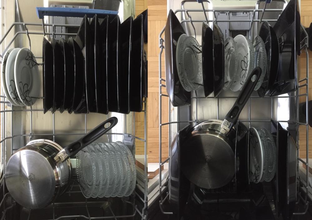 Vasemmanpuoleiset astiat on lajiteltu koneeseen laitettaessa.