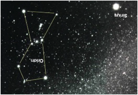 Figure 1A. Star chart of Orion with the Milky Way in the bottom right hand corner.