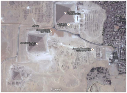 Figure 1B. Google Map image of the three great pyramids on the Giza Plateau. The Ancient Nile River occupied the right of the figure roughly where the present desert ends with the encroachment of Cairo city.