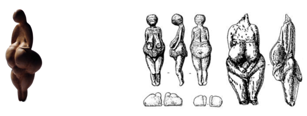 Figure 3. Examples of  Venus figurines  produced over millennia by the early human Gravettian culture. On the left is an example from Southern France. On the right are sketches of figurines found at the Kostenki site on the Don River in the east.