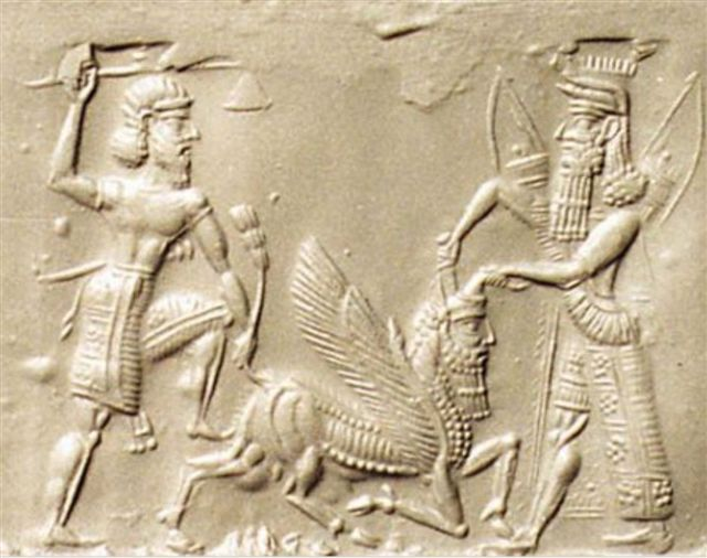Figure 5.2. Gilgamesh and Enkidu killing the Bull of Heaven.