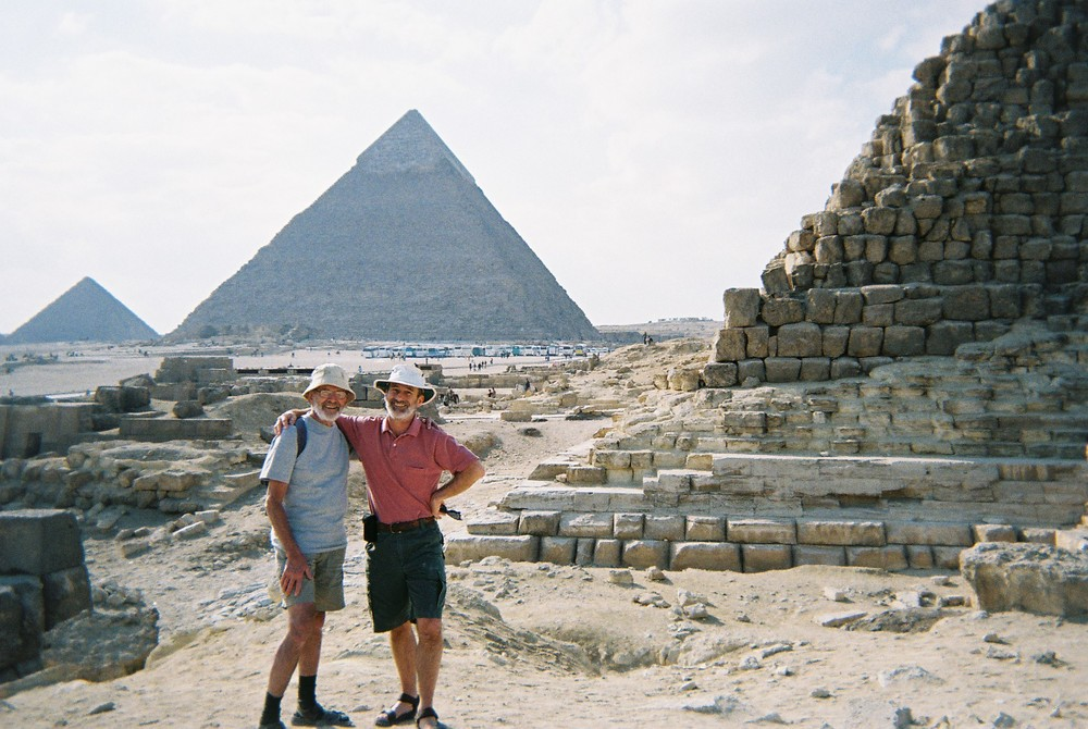 Figure 1.1. The authors at the base of the Pyramid of Khufu (Cheops), also known as the Great Pyramid of Giza, with the Pyramid of Khafre (Kephren; middle) and the Pyramid of Menkaure (Mycerinus; smallest) in the background.