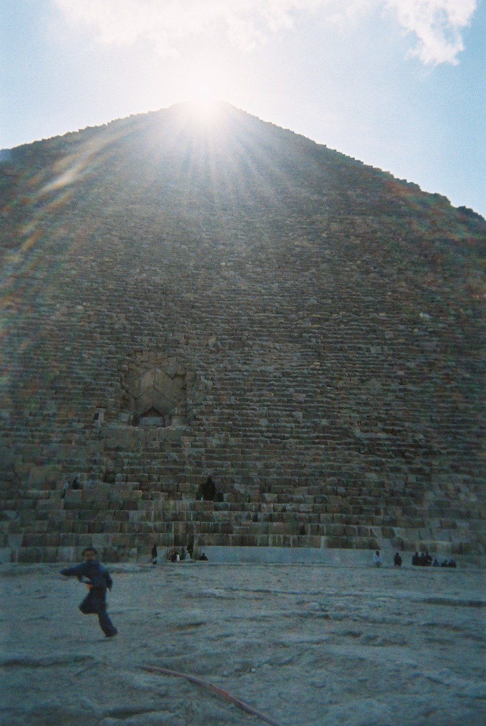 Figure 2.3. Sun at noon sighted at the top of the Great Pyramid at Giza.