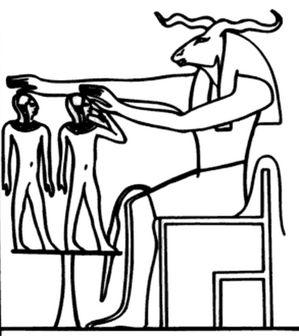 Figure 3.10. Khnum creating a pharaoh. In the image there are two humanoid figures, one is the Pharaoh's body and second, with a bird in hand, is his Ka or spirit.