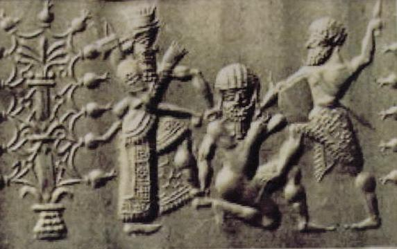 Figure 5.1. Cylinder seals of a crowned Gilgamesh with a sword or dagger and an axe-wielding Enkidu slaying the bearded Humbaba.