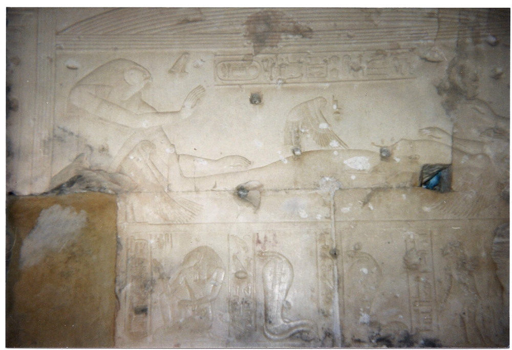 Figure 6.1. Osiris impregnating Isis. Temple of Osiris at Abydos, built by Seti I.