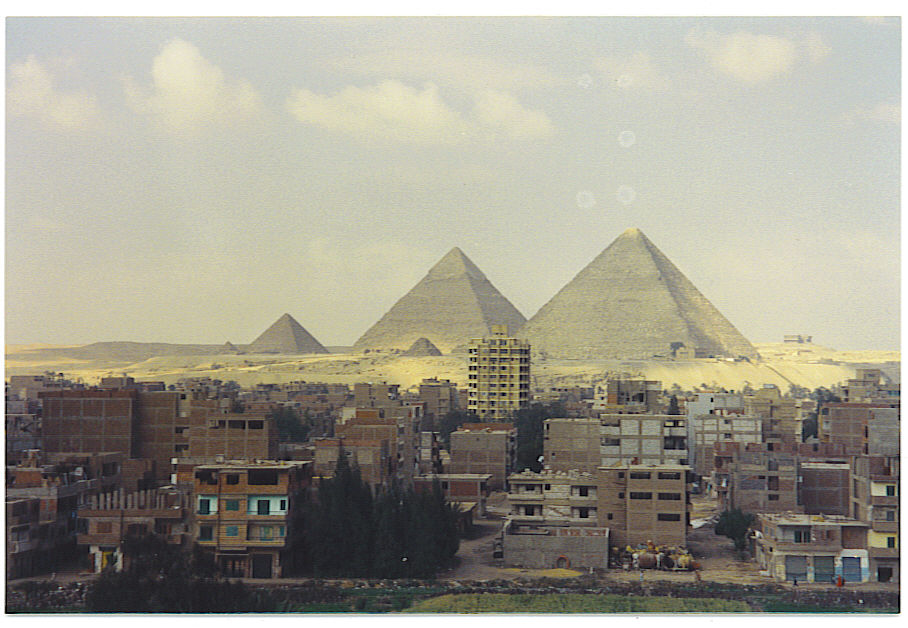 Figure 6.3. The Pyramids of Giza. This view is no longer available because modern high-rise apartments have been built in the foreground.