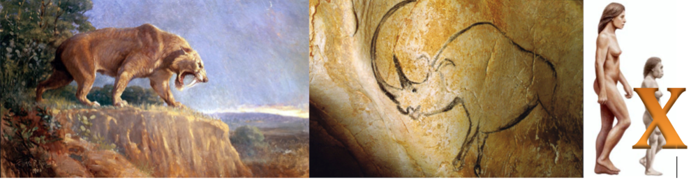 Figure 4. Species that went extinct 12,000 years ago. From left to right, sabre tooth tiger, wooly rhinoceros image from cave paintings and  Homo florenciensis  on the right compared to modern human size .