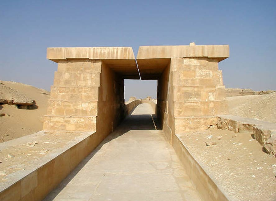 Figure             SEQ Figure \* ARABIC      3        . A short reconstruction of the Causeway of the Pyramid Complex of Unas, showing the slit opening in the roof that could have been used for sighting stars on the journey from the Valley Temple up to the Pyramid   [10]   .