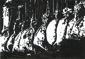 Sacks in a barn  Calligraphy pen on card stock  (c) Giles 2014