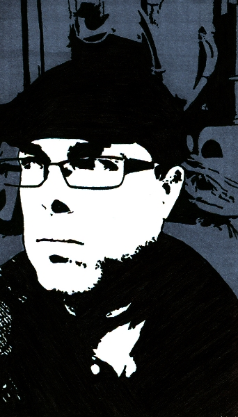 Self-portrait (Jan 2015)  Design marker on business card  (c) Giles 2015