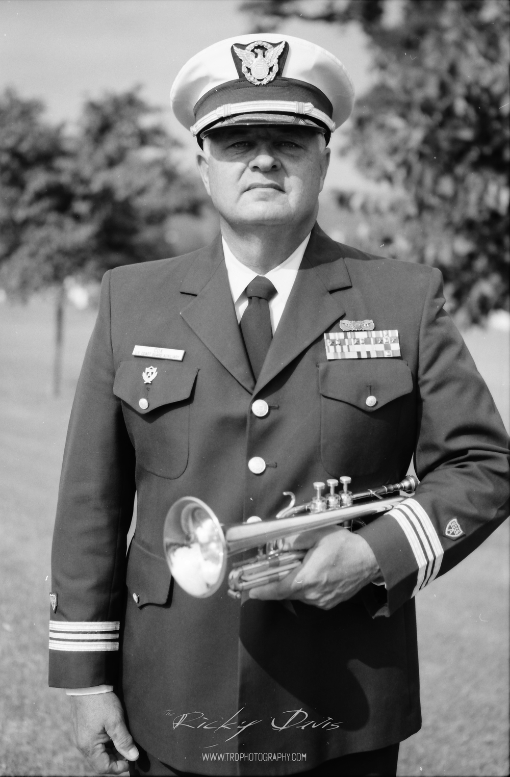 Bugle Player - David A Cox. Photo by Photographer Ricky Davis of TRD Photography. Film - Tmax 100.
