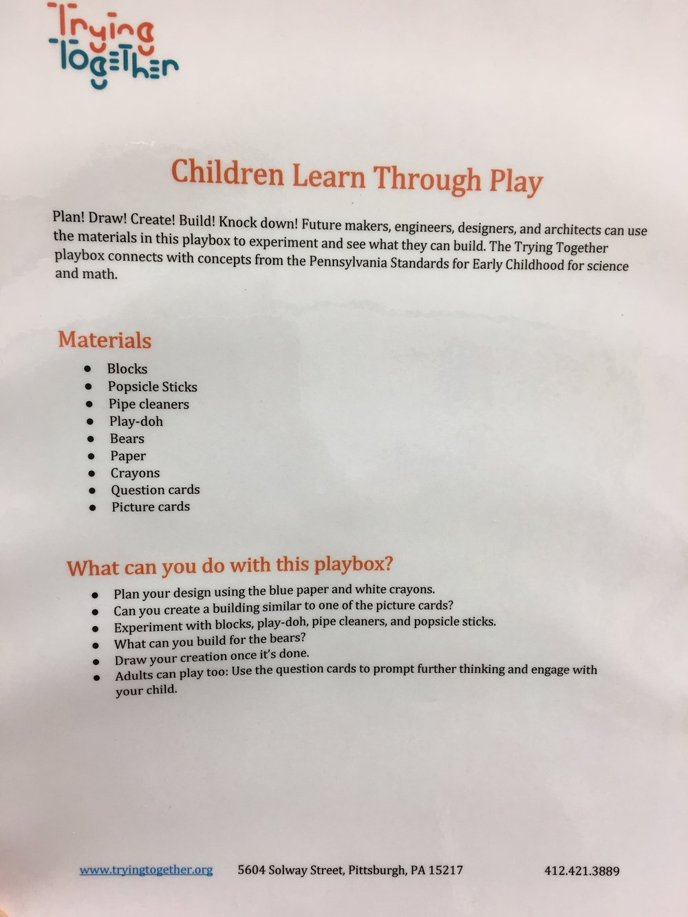 Trying Together Play Box Description