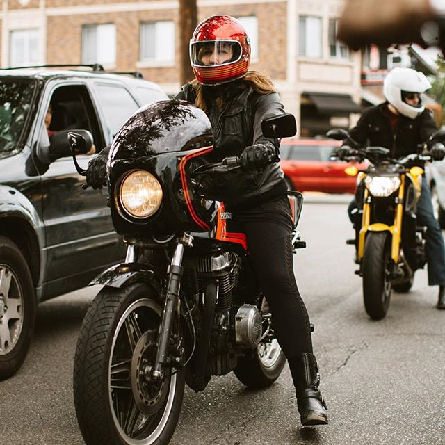 Lady @gnattynat on her first group ride from the Fuse Box down to @backfiremoto on her new Honda!! Welcome to the club. #backfiremoto #fuseboxmoto