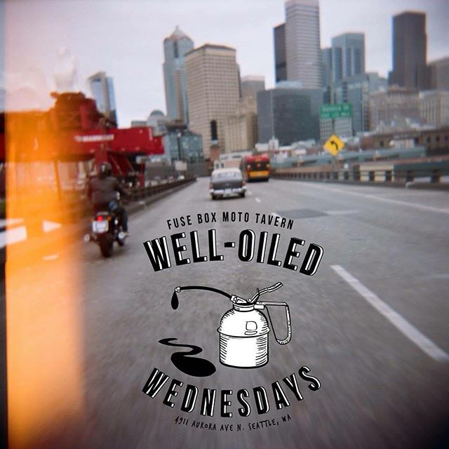 Well-oiled Wednesdays!!! Come join us. #fuseboxmoto #welloiledwednesdays  Holga 📷 by @shaffewill