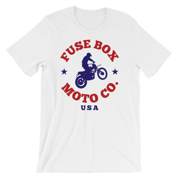 Red, White, and Blue Fuse Box Moto Co. Moto X T-Shirt