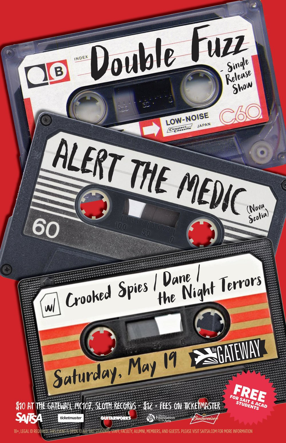 Saturday, May 19 @ The Gateway, Calgary , AB w/ Double Fuzz, Alert The Medic, DANE & The Night Terrors -